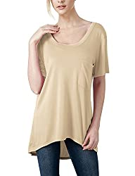 Elbon Boutique Womens Sleeve Deep V-Neck Oversized T-Shirt With Chest Pocket SKYBLUE S