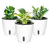 Self Watering Hanging Planter Plastic Flower Pots, Suitable for Succulents, Flowers and Other Indoor Plants, White (Pack of 3), 4.4' × 4.4'