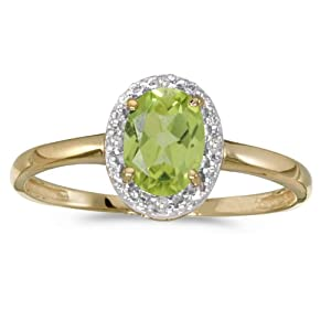 0.69 Carat ctw 10k Gold Oval Green Peridot Solitaire & Diamond Halo Engagement Promise Fashion Ring