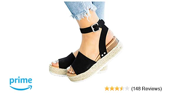 7710030aa0 Amazon.com | Athlefit Women's Platform Sandals Espadrille Wedge Ankle Strap  Studded Open Toe Sandals | Platforms & Wedges