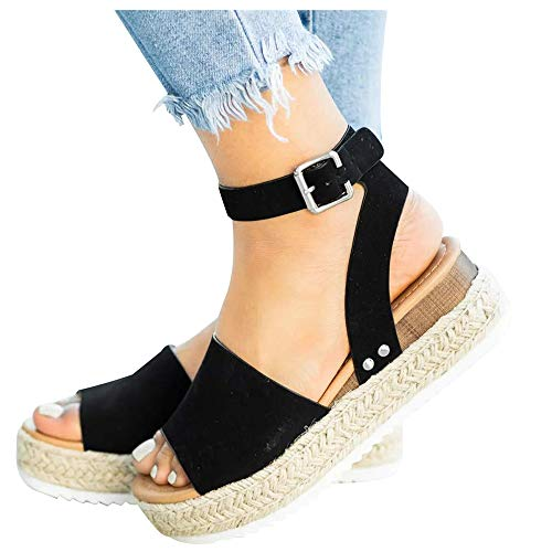 Athlefit Women's Platform Sandals Espadrille Wedge Ankle Strap Studded Open Toe Sandals Size 6 Black