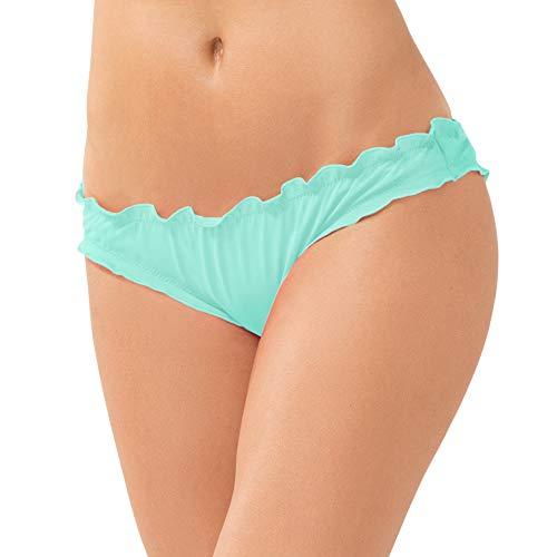 - Smart & Sexy Women's Swim Secret Ruffled and Ruched Back Bikini Bottom, Mint Chip, Small