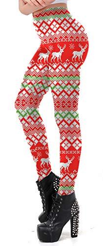Christmas Leggings for Women High Waisted Floral Novelty Fashion Xmas Legging