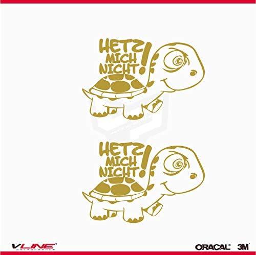 Provinyl Aufkleber Schildkröten Hetz Mich Nicht! 2 Stück 12 x 8 cm für Auto oder Motorrad gold