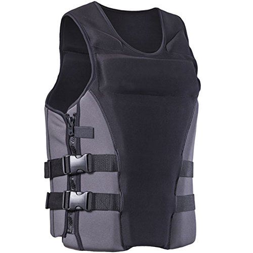 - ZZ Lighting Neoprene Life Jacket Vest Waterski Wetsuit for Children and Adult with Zipper(Gray,L)