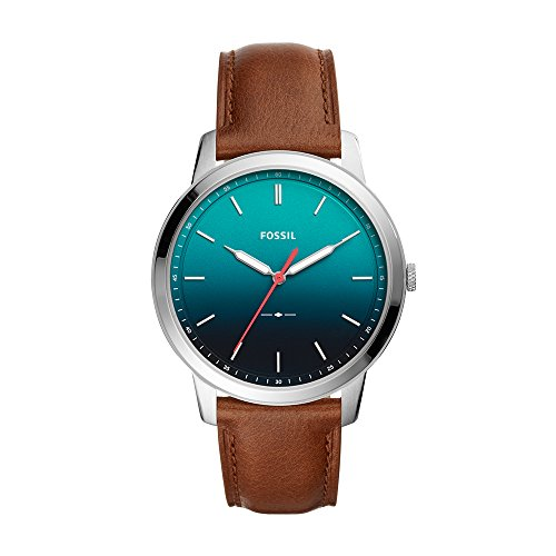 Fossil Men's Minimalist Quartz Stainless Steel and Leather Casual Watch Color: Silver Blue (Model: FS5440)
