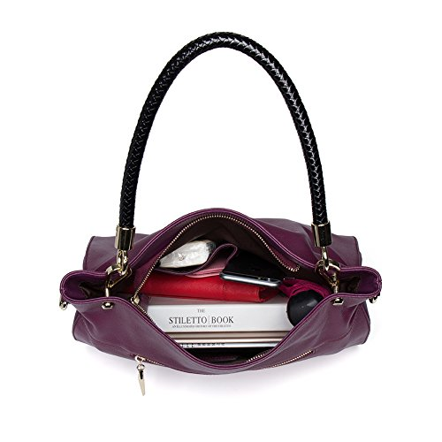 Purse for Satchel Bag Handbags CLUCI Tote purple Black 8 Leather Designer Shoulder Women wx0qC8RO
