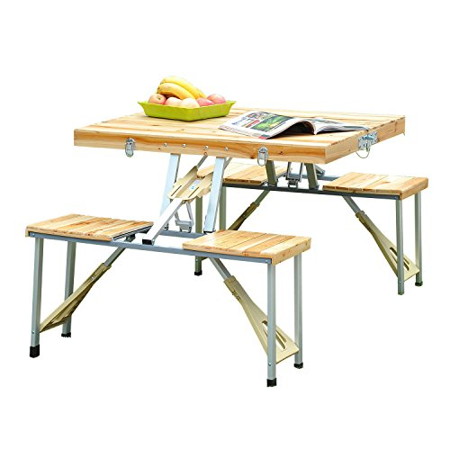 Outsunny-Portable-Folding-Camping-Picnic-Table-Party-Field-Kitchen-Outdoor-Garden-BBQ-Chairs-Stools-Set-Wooden-Wood