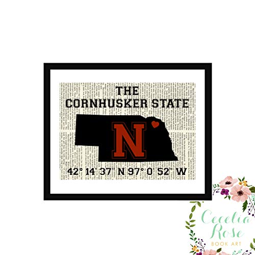 Nebraska Cornhuskers Huskers State Memorial Stadium Coordinates Longitude Latitude Farmhouse Literary Typography Vintage Book Page Word Art Quote Print-Wall Art-Gift 8x10 Unframed Print ()