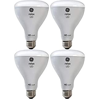 GE Relax HD LED Light Bulbs, 65W Replacement, BR30 LED Floodlight, 4-Pack, Soft White, Dimmable Flood Light Bulbs, Indoor, Medium Base