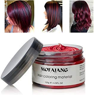 MOFAJANG Hair Coloring Dye Wax, Wine Red Instant Hair Wax, Temporary Hairstyle Cream 4.23 oz, Hair Pomades, Natural Hairstyle Wax for Men and Women Party Cosplay (Best Highlights For Natural Red Hair)
