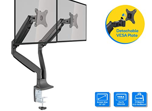 Aluminum Gas Spring Monitor Arm,Height Adjustable Riser,Clamp or Grommet Available,with Gas Spring Hovering System and Quick Release VESA 75/100 Plate (Dual)