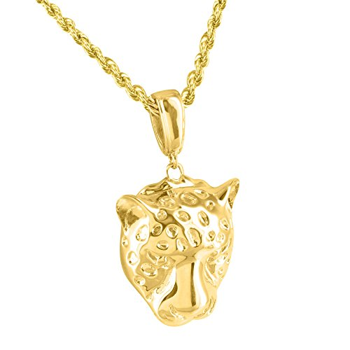 Cheetah Face Pendant Rope Necklace 14k Gold Plated 1.6 Inch Solid Back Piece (Gold Panther Pendant)
