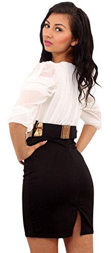 Neuen Frauen Chiffon- drapierter Sleeve Two Tone Rope Kleid mit Gürtel 36-42:  Amazon.de: Bekleidung