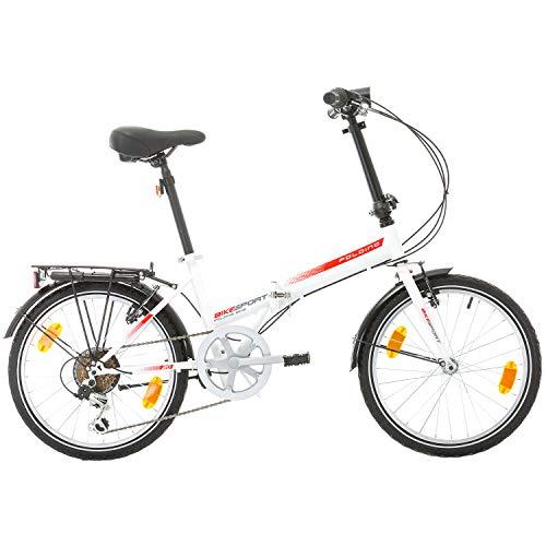 Bikesport Folding Bicicletta Pieghevole 20 Bianco Lucido Rosso