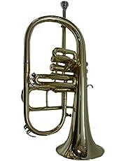 OSWAL Bb/F Silver Nickel 4 Valve Flugel Horn+W/Case+Mouthipiece