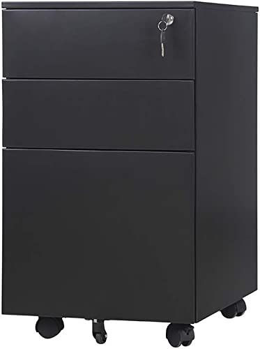 Romatlink Office Drawer, Office Cabinet, File Cabinet, Drawer Mobile File Cabinet With Lock, Metal Vertical Lockable With Casters For Commercial Grade Office Legal, Letter File , Black