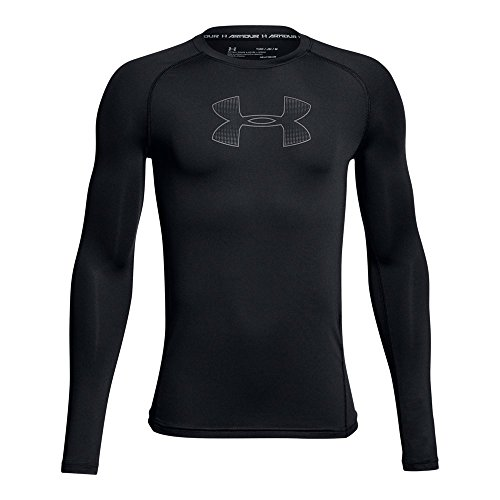 Heatgear Boys Shirt - Under Armour Boys Heatgear Armour Long Sleeve Shirt, Black (002)/Graphite, Youth Medium