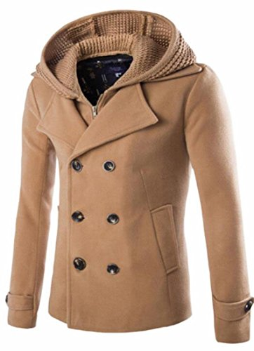 Hokny TD Mens Classic Wool Double Breasted Trench Coat Removable Hoodies Pea Coat Camel XL