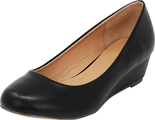 Cambridge Select Women's Closed Round Toe Slip-On Low Wrapped Comfort Wedge,6.5 B(M) US,Black PU by Cambridge Select