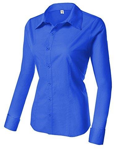Longues Manches Chemisier Femme Casual Coton Business Gem Blouse Unibelle ou et 100 Bleu Femme 4wq080B