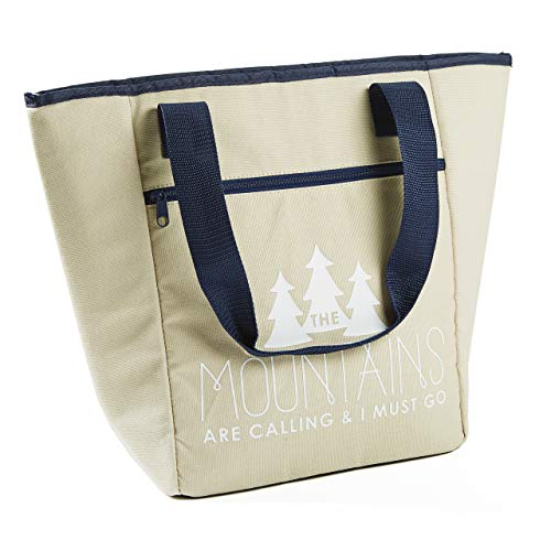 (Fit & Fresh Coronado Tote for Adults and Teens, Mountains, Khaki & Navy)