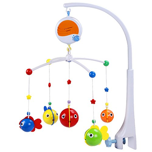 (Fisca Baby Musical Crib Mobile, Infant Bed Decoration Toy Hanging Rotating Bell with Melodies Dual Purpose (Mobile & Bath Toy))