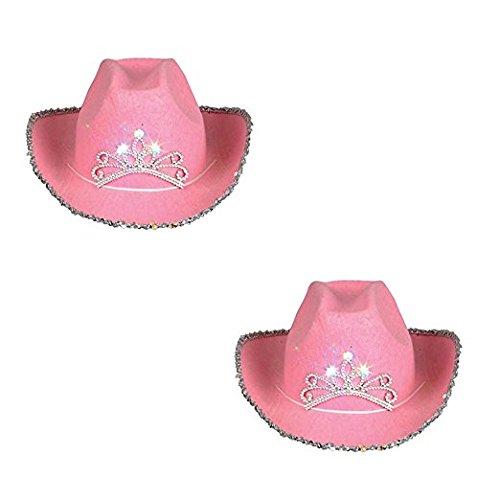 2 Pack Rhode Island Novelty f-am244AZ2 Child Blinking Pink Tiara Cowboy Hat