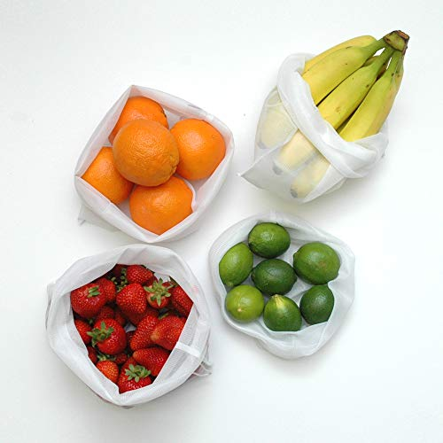 Food storage bags with different types of fruits.