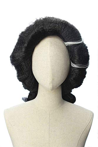 CosplayWigsCom: Imelda Rivera of Coco Inspired Black Pincurl Wig with White Streaks Prestyled Cosplay Hair for Women and Teens