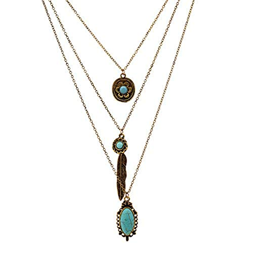 LUREME Vintage Multi Layered Chain Turquoise Stone Flower Metal Feather Pendant Necklace (01003373) (Antique Gold) ()