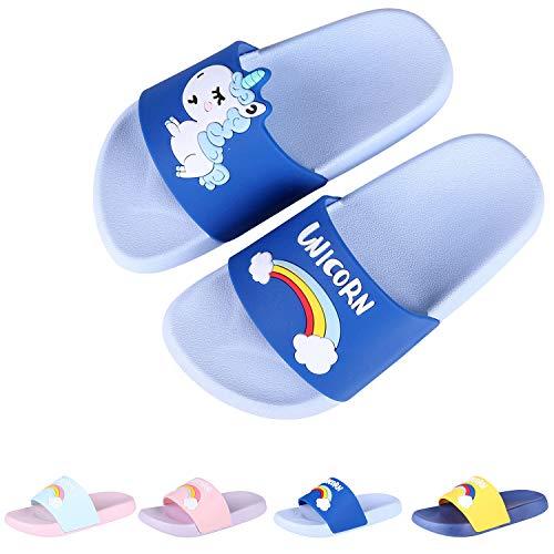 Boys Girls Slide Sandals Kids Outdoor Beach Pool Sandal Soft Unicorn Bath Slippers (Toddler/Little Kid) Blue 28