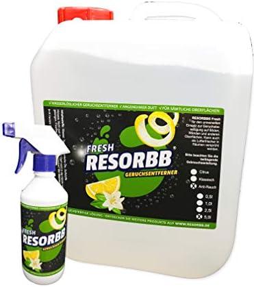 RESORBB® FRESH Anti-Rauch 5l. + leere Sprühflasche Dieser wasserlösliche Geruchsneutralisierer eignet sich für glatte Oberflächen und kann auch als Raumspray verwendet werden