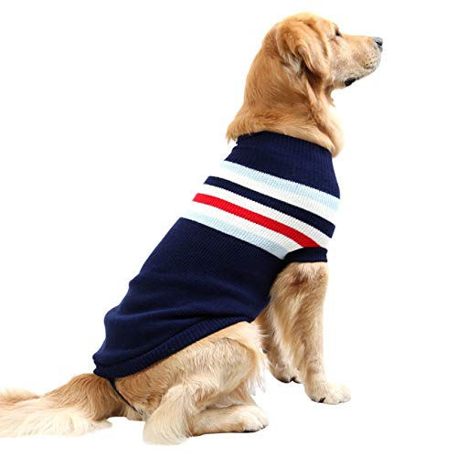 Dora Bridal Dog Sweater,Stripes Knitwear Tutleneck Dog Apparel,Pet Sweatshirt Cloth Dog Wool Classic Warm Soft Sweaters for Cold Weather, Puppy Warm Winter Coat for Small Medium Large Dogs Navy Blue