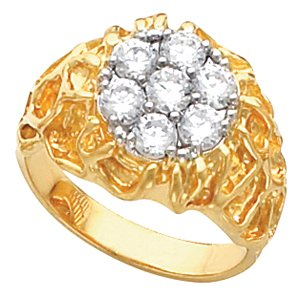 Ann Harrington Jewelry 14k 2tone Gold Round Mens Cluster Nugget