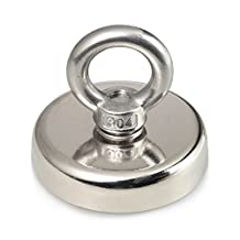 Be Magnet 249 LBS Pulling Force Super Powerful Round Neodymium Magnet with Countersunk Hole and Eyebolt Diameter 2.36''(60mm) Great for Underwater retrieving or Magnetic fishing