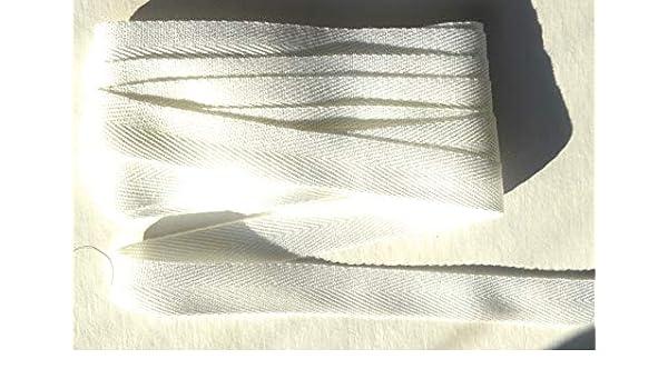 Cinta de sarga blanca de 40 mm con borde de 1,5