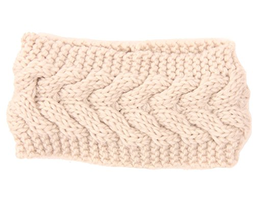 I'MQueen Women's Ladies Korea Crochet Off White Twist Style Headband Head Wrap