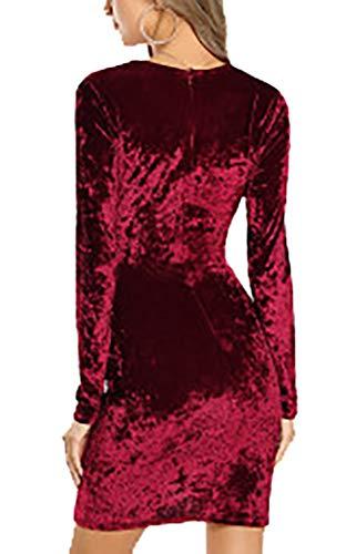 Asimmetrico Abito Bordeaux In V Esclusi Maniche A Vestito Donna accessori Scollo Lunghe Velluto Elegante Con rwrtCq6xS