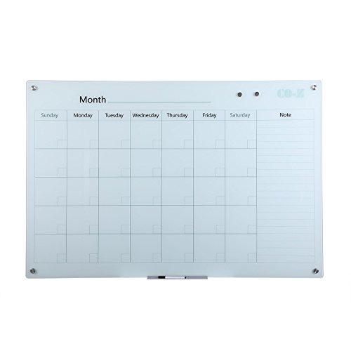 CO-Z Magnetic Dry Erase Board Frameless Glass Whiteboard Note Memo Eraser Wall Board ((With Calendar) 59 x 39 inch/3.92 x 3.25 feet) by CO-Z