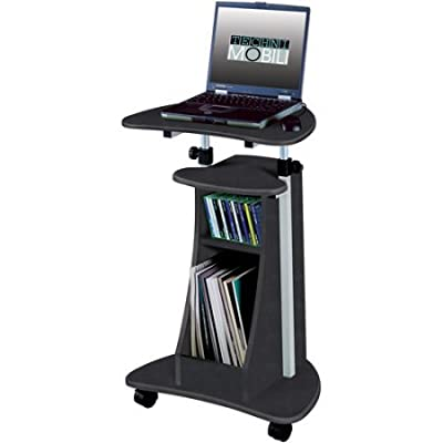 Rolling Laptop Cart with Storage, Multiple Finishes/Model: RTA-B002-WG01 /Color: Graphite and Black