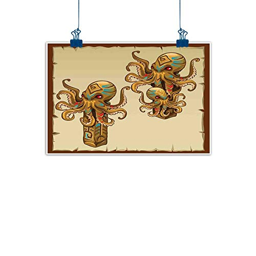 Sunset glow Simple Life Minimalist Octopus,Cartoon Art Tribal Monster Kraken Sculpture Ornament Illustrations Sea Creature Print,Brown for Living Room Bedroom 28