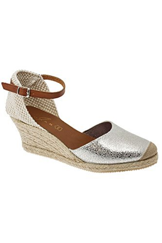 d645774a40 Fantasia Boutique JLN066 Antony Ladies Leather Metallic Ankle Strap  Comfortable Espadrille Wedges [Silver, UK