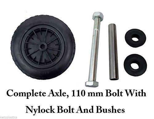 PU 14 Puncture Proof BLACK Wheelbarrow Wheel Tyre 3.50 - 8 foam filled + AXLE by Keto Plastics