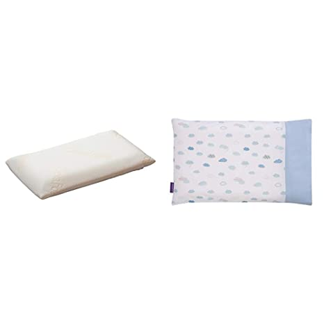 Blue 100/% Cotton Clevamama ClevaFoam Baby Pillowcase