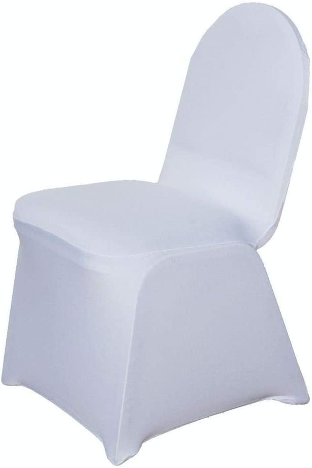 Efavormart 50pcs White Stretchy Spandex Fitted Banquet Chair Cover Dinning Event Slipcover for Wedding Party Banquet Catering