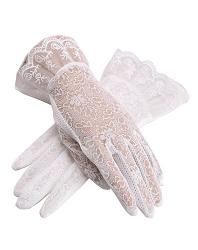 Urban CoCo Vintage Spring and Summer Women's Lace Cotton Short Gloves (Model 3-White) (White Vintage Glove)