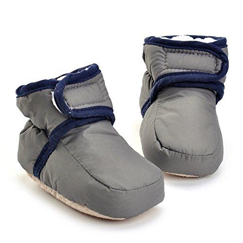 Bebé Niños Niñas Invierno Cálido Botas Zapatos de Cuna gris gris Talla:3-6 meses gris