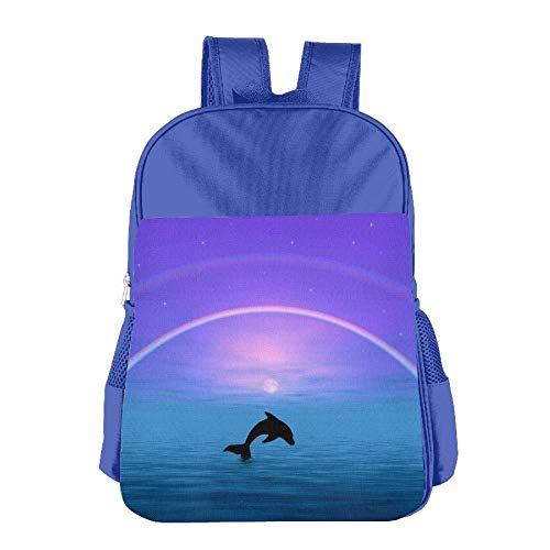 CNJELLAW Lightweight Student Mini Backpack Miami Dolphins Printing Child Shoulder School Bags Cute Travel Daypack RoyalBlue - Miami Dolphins Black Face