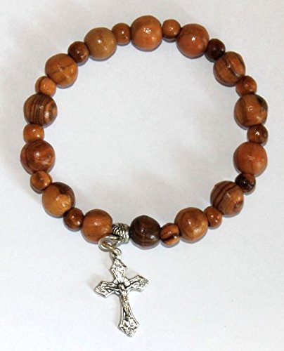 Olive Wood Jerusalem Rosary Bracelets From the Holy Land with Silver Crucifix by Bethlehem Gifts TM